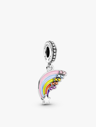 Star And Rainbow Sterling Silver Dangle With Pink Cubic Zirconia And Purple, Yellow, Orange And Blue Crystal And Enamel0