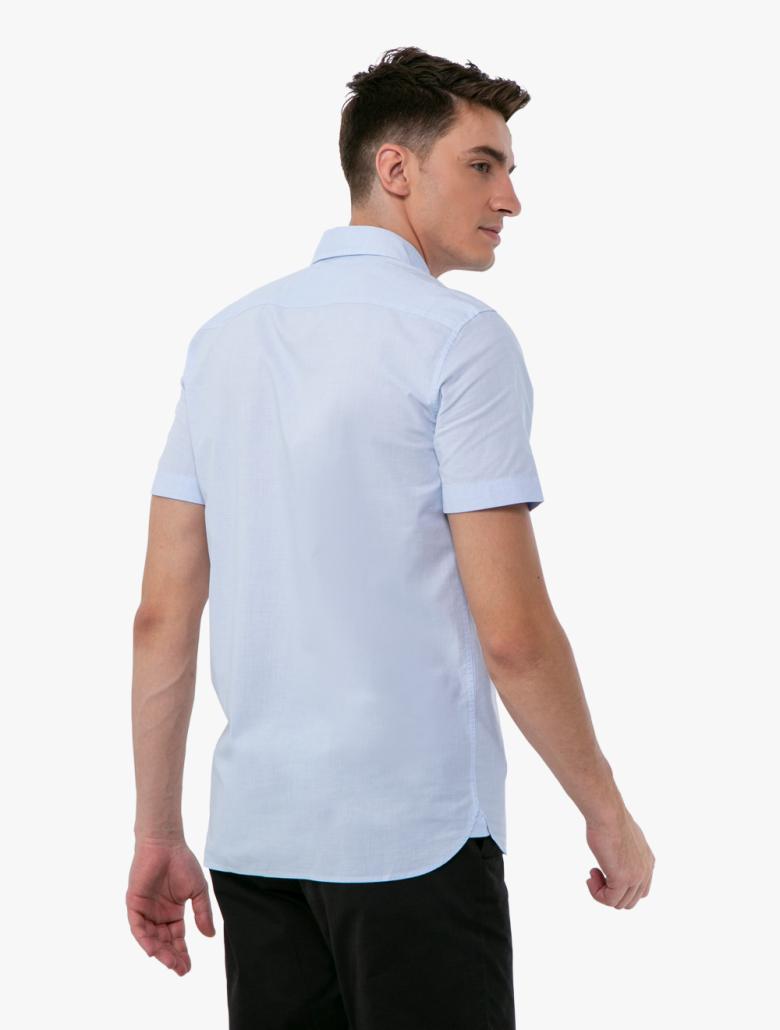 def3adf65a Men's Slim Fit Tricolour Striped Cotton Short Sleeves Shirt