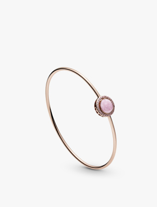 Pandora Rose bangle with Fancy fairy tale pink cubic zirconia and rose enamel2