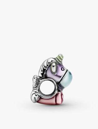 Unicorn Sterling Silver Charm With Transparent Blue, Green, Purple And Pink Enamel2
