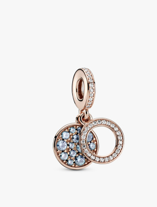 Circle and disc Panndora Rose dangle with icy blue and bleached aqua blue crystal and clear cubic zirconia0