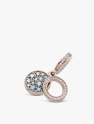 Circle and disc Panndora Rose dangle with icy blue and bleached aqua blue crystal and clear cubic zirconia3