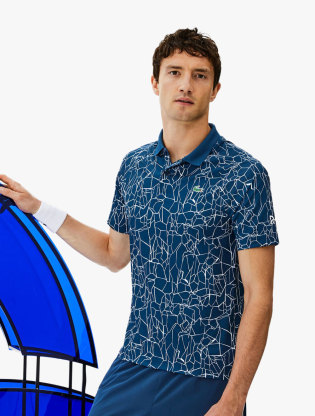 Men S Lacoste Sport Novak Djokovic On Court Collection Print Technical Jersey Polo Shirt