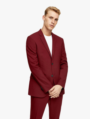 Burgundy Skinny Fit Single Breasted Suit Blazer With Notch Lapels0