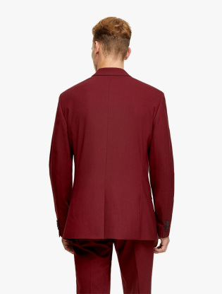 Burgundy Skinny Fit Single Breasted Suit Blazer With Notch Lapels1