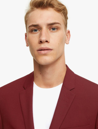 Burgundy Skinny Fit Single Breasted Suit Blazer With Notch Lapels2