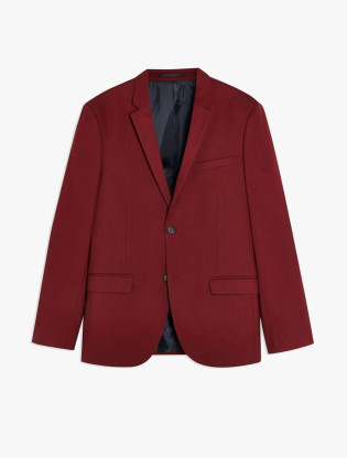 Burgundy Skinny Fit Single Breasted Suit Blazer With Notch Lapels3