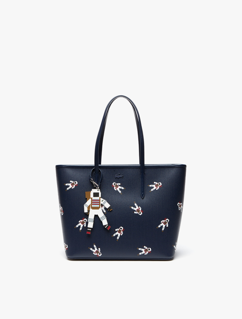 a08dc55ee Chantaco Zippered Astronaut Print Leather Tote Bag