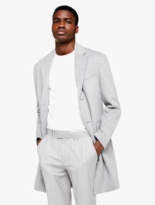 Grey Single Breasted Overcoat0