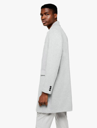 Grey Single Breasted Overcoat1