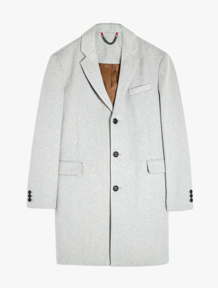 Grey Single Breasted Overcoat3