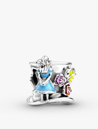 Disney Alice In Wonderland Mad Hatter Hat Sterling Silver Charm With White, Yellow, Blue, Red And Pink Enamel0