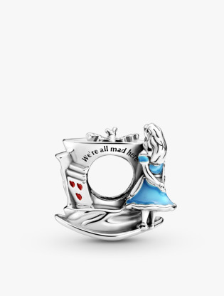 Disney Alice In Wonderland Mad Hatter Hat Sterling Silver Charm With White, Yellow, Blue, Red And Pink Enamel2