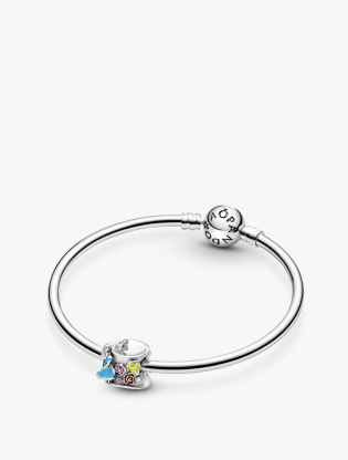 Disney Alice In Wonderland Mad Hatter Hat Sterling Silver Charm With White, Yellow, Blue, Red And Pink Enamel4