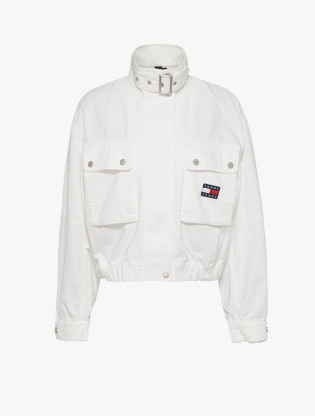 Tommy Badge Canvas Cropped Utility Jacket0