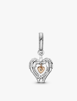 Heart and wings sterling silver and Pandora Rose dangle with 0.009 ct TW GHI  SI1+ round brilliant-cut man-made diamond1