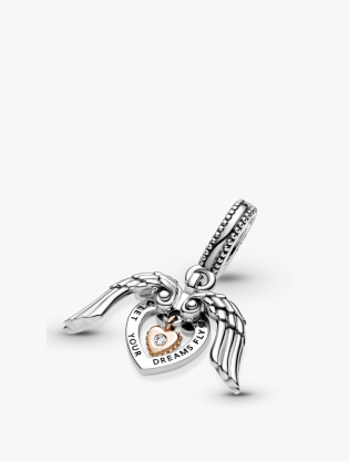 Heart and wings sterling silver and Pandora Rose dangle with 0.009 ct TW GHI  SI1+ round brilliant-cut man-made diamond3