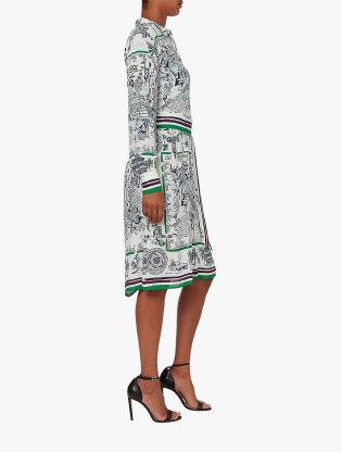 Pure Silk Scarf Print Dress2