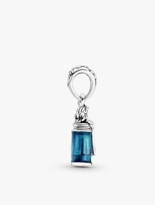 Disney Alice In Wonderland Sterling Silver Dangle With Transparent Blue Enamel2
