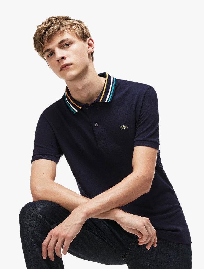 932e3b1ac Men's Lacoste Slim Fit Striped Contrast Collar Petit Pique Polo Shirt