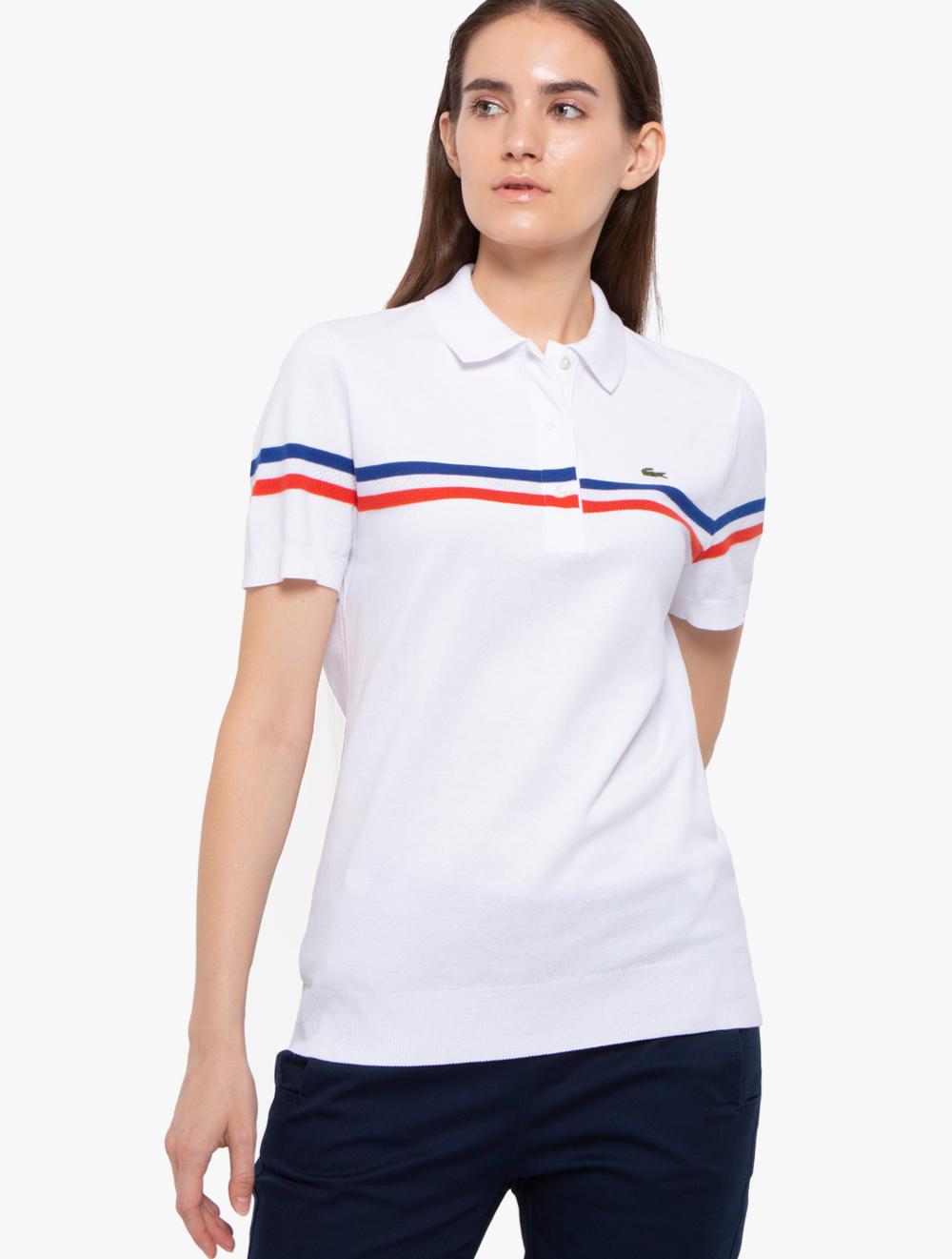 0f18f9cad Women's Lacoste Slim Fit Made In France Tricolour Striped Cotton Polo Shirt