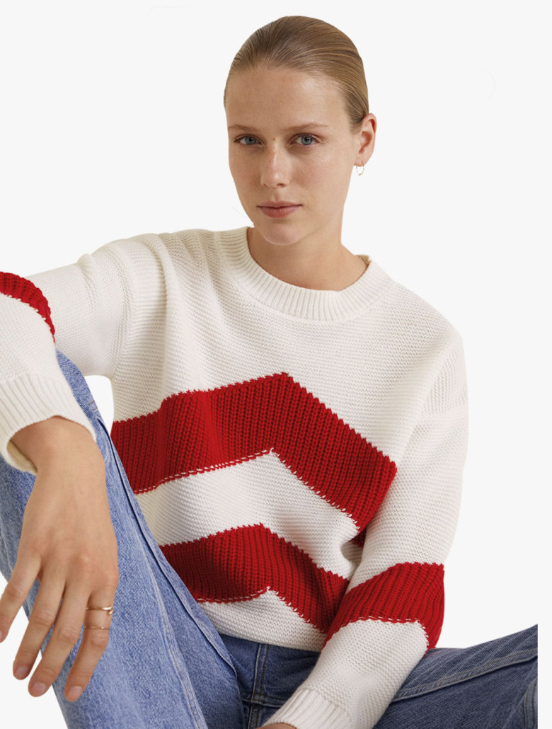 new arrivals cheap price classic fit Andrew Contrast Knit Sweater