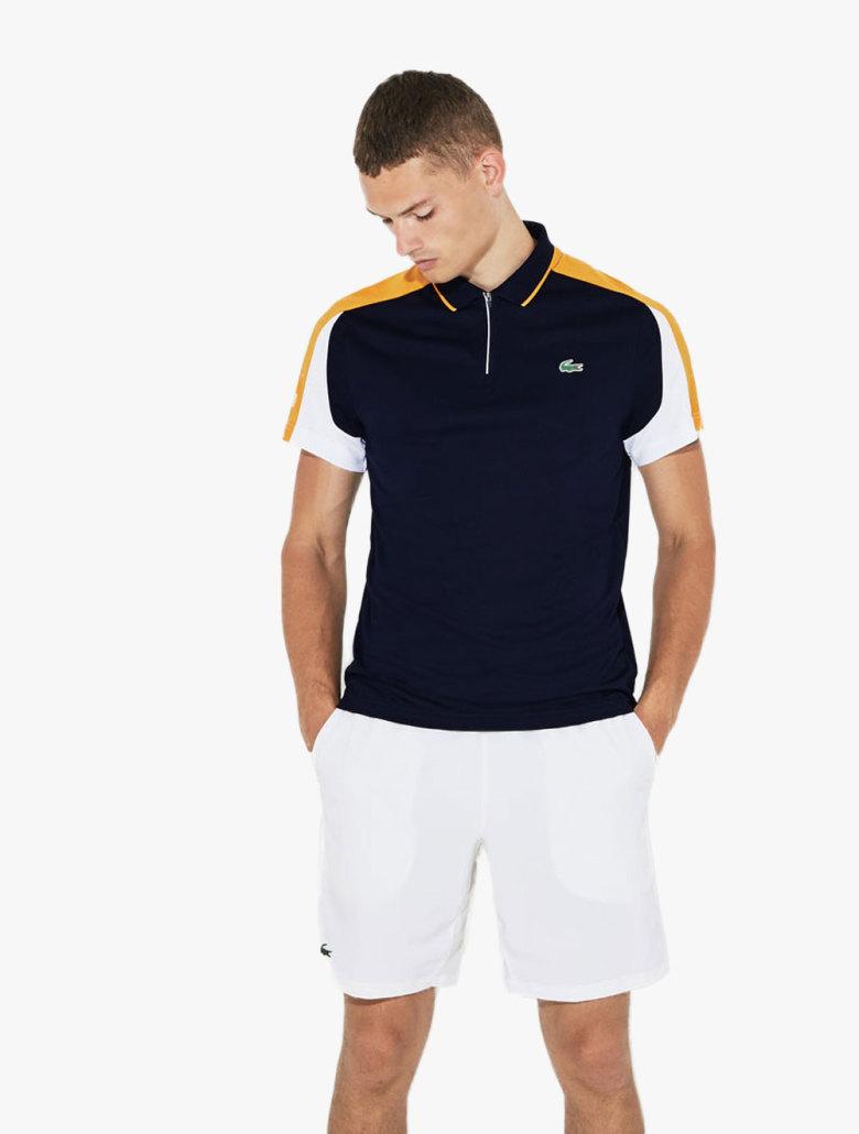 c2857abfe31770 LACOSTE. Men s Lacoste Sport Zip Neck Contrast Bands Pique Tennis Polo