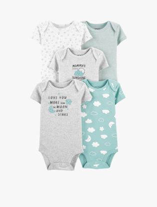 Carter's 5-Pack Clouds Original S/S Bodysuits - Baby Neutral - CAT1I7248100