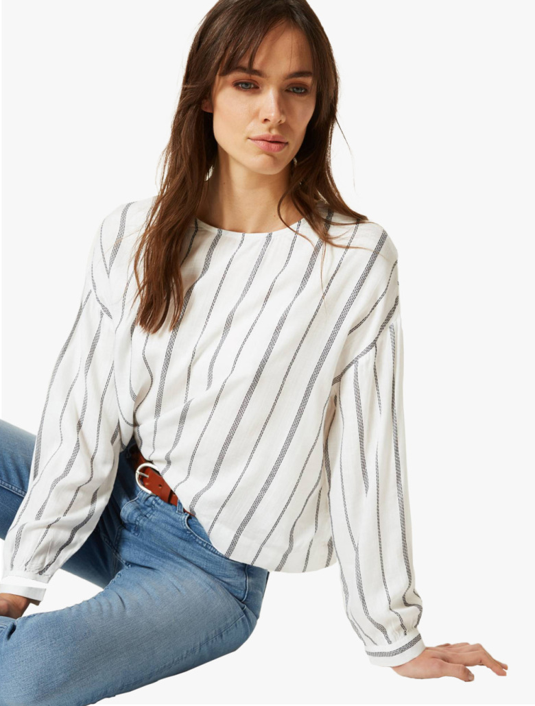c5c31940f38a25 Striped Round Neck Long Sleeve Blouse